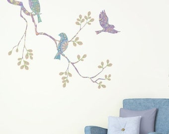 ON SALE Pastel Birds on Tree Branch Wall Decal Set