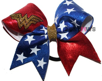Gorgeous Wonder Woman Cheer Bow by FunBows !!