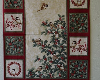 Chickadees from Chickadees and Berries Collection by Jackie Robinson of Animas Quilts for Benartex, Quilt and Craft Fabric, Fabric by the Yd