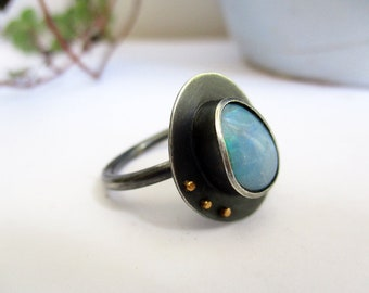 Opal Ring, Silver Gold Ring, Statement Ring, Oxidized Silver Ring, Simple Ring, Gemstone Ring, Modernist Jewelry, Contemporary Jewelry