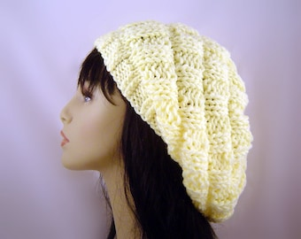 Hand Knit Oversized Slouch Beret in Pale Yellow