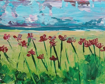 """5"""" x 7"""" """"Storm is Brewing"""" acrylic on canvas panel"""