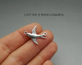 set of 3 (B02) silver swallow bird connector charms