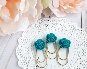 Teal Cabochon on Medium Wide Gold Paperclip Planner Clip Bookmark