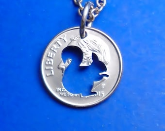 Squirrel Necklace, Squirrel Pendant, Charm Necklace, Key Chain, Squirrel Keychain, Cut Coin Jewelry, Squirrel Keyring, Coin Art