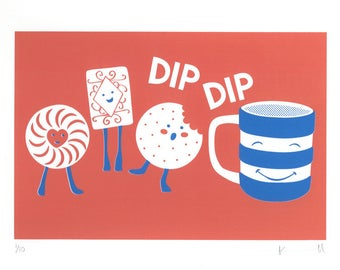 Biscuits & Tea DipDip Screen Print • Signed Limited Edition A3 Hand-pulled Original • Kitchen • Nursery • By Kate Maxwell DesignandDraw