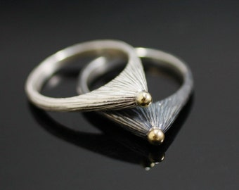 Triangular Star Bright Ring with Gold Granule - Sterling Silver, 18k Gold
