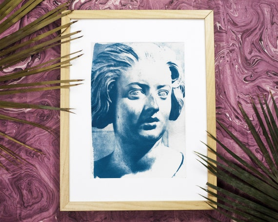 Detail of Bust of Constanza Bonarelli from Gian Lorenzo Bernini, Beautiful Cyanotype Print on Watercolor Paper. Limited Serie