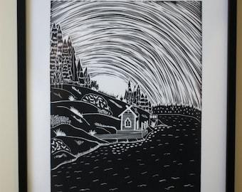 Archipelago 3 Original Lino Print
