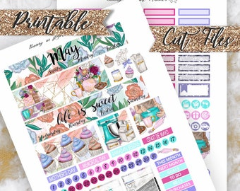 May 2018 Happy Planner Monthly Stickers,Printable Sticker kit,Spring Stickers,May Fashion kit,Flowers Stickers,Monthly 2018 Planner,Monthly