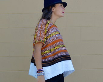 Vintage Huipil GUATEMALAN Blouse Top with Hand EMBROIDERED Oversized Tunic