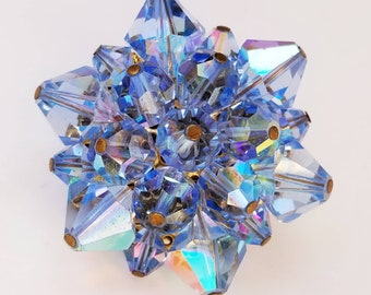 Vintage Round Bead Cluster Brooch - AB Blue Faceted Glass