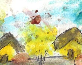 No. 20010 ACEO Art Cards Editions & Originals Fantasy Landscape by NoRaHzArT