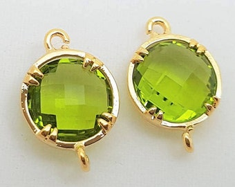 2 pcs Peridot Green Apple Faceted Circle Glass Stone Connector Findings, Gold Plated Bezel Setting, PC-0196