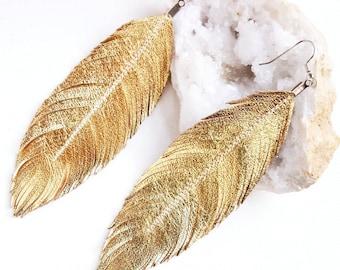 Feather Earrings Gold, Feather Earrings, Leather Earrings, Gold Earrings, Bridal Earrings, Large Earrings, Bridesmaid Gift, Wedding Earrings