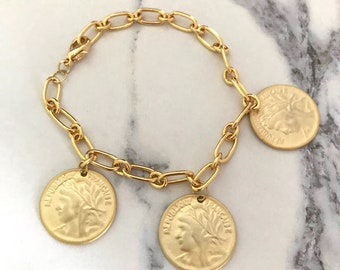GOLD LUNAR Gold Plated Coin Charm Bracelet in Gift Box