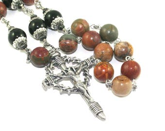 "Man's Rosary 3 Decades, Pewter ""Nails"" Crucifix, Large Jasper & Agate Gemstone Beads, Presentation Rosary"