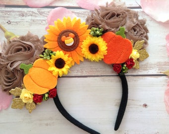 Mouse Ears headband- Fall Mouse Ears headband-Halloween ears-dress up ears