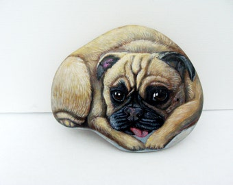 PAINTED ROCKS-Custom Pet Portrait on a Semi Flat Stone,  5-6 in.- Painted Rocks by Shelli Bowler