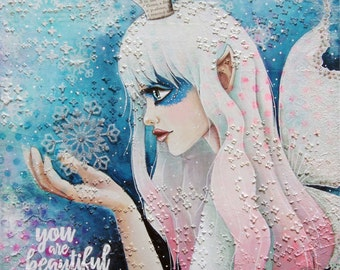 Giclee Fine Art Archival Print ~ Snow Enchanter ~ Mixed Media Art ~ By Kim Costello