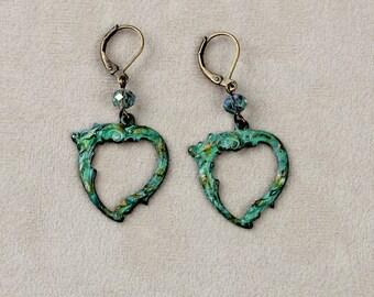 Vintage Verdigris Patina Heart Earrings