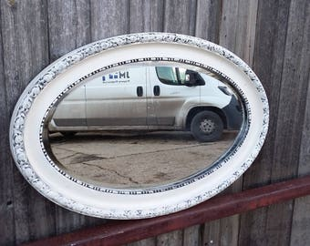 Vintage Painted Shabby Chic Oval Mirror. Cream.