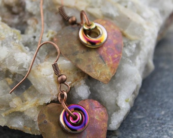 Artisan Embossed, Flame painted Copper Heart Earrings