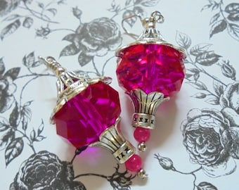 Chunky Fuschia and Silver Earrings (2824)
