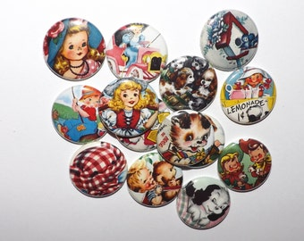 "Retro Children and Animals  1""  Buttons.(set of 20)"