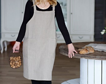 Linen Apron - No-ties Apron - Apron with pocket - Linen Square-Cross Apron - Pinafore - Stone washed apron - Japanese apron