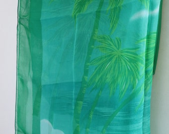 Green Palm Chiffon Scarf,Summer Shawl,Pareo, Big Size,Women Scarves Gift Ideas For Her Women Fashion Accessories,Birthday Gift