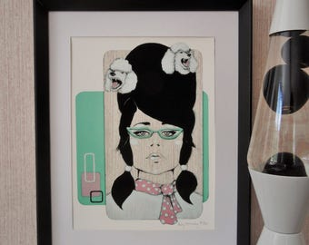 Giclee print by Andy McCready - 'POODLE PARLOUR' - Limited edition, small, pink, 1950s, mint, retro. Prints by giltandenvy on Etsy.