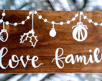 Family Christmas wood sign custom name sign farmhouse Christmas decor hand lettered hand painted