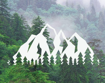 Mountain Tree Decal, Mountain Tree Range Decal, Adventure Decal, Nature Decal, Car/Laptop/MacBook Decal Tree Mountains Sticker x2
