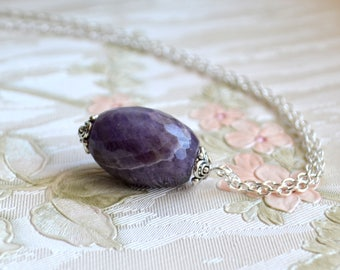Amethyst necklace Faceted amethyst jewelry Gemstone necklace Raw stone necklace Purple amethyst jewelry Boho necklace Birthstone necklace