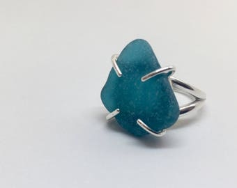 Rare Turquoise Blue Sea Glass Ring