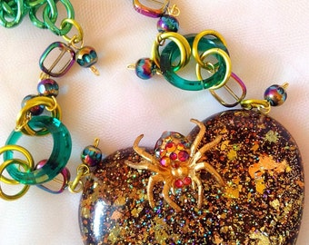 Halloween Glitter Resin Spider Necklace - Statement Necklace - Creepy Cute - Glamour Goth, Fall Jewelry