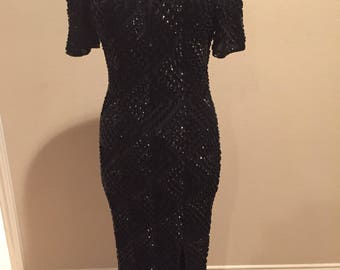 VTG Black Sequin Dress by Gopal