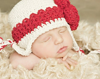 0-3 month hat baby girl beige earflap beanie with red stripe and red flower great photography prop