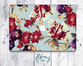 Floral print Macbook Decal / Stickers Macbook Pro / Macbook sticker / Laptop sticker / Macbook Pro skin / Macbook pro 13 case / BS011