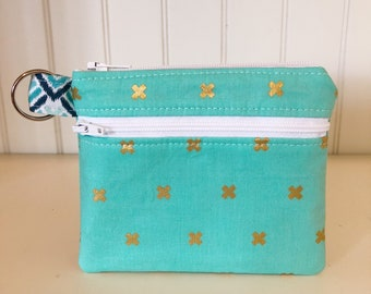 Zippered Wallet - Teal and Gold