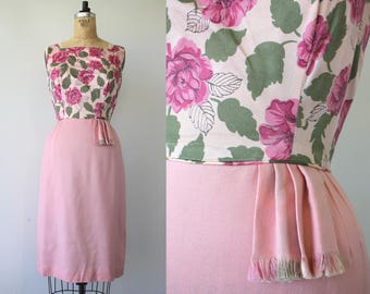 vintage 1960s dress / early 60s cocktail dress / 60s pink floral dress / 60s mad men dress / 1960s party dress / medium 28 inch w