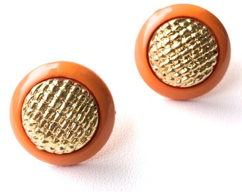 "Old Hollywood ""Betty"" Orange & Gold Studs. FAST Shipping with Tracking for US Buyers. Earrings will arrive in a Gift Box tied with a Ribbon."