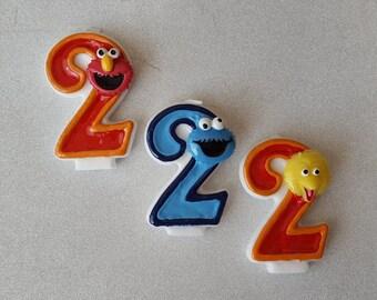 Sesame Street, Elmo, Cookie Monster, Big Bird, Abby Cadabby birthday candle, keepsake candle, anniversary candle, custom candle