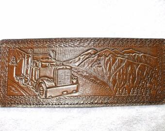 Brown semi truck wallet / billfold. truckers wallet (28)