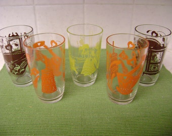 Swanky Swigs, Juice Glasses, 1950's set of five, colorful