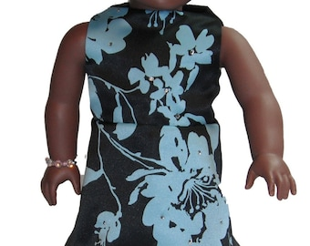 """18"""" Doll Clothes Sleeveless Knee Length a-line Dress in Black & Aqua Floral print with rhinestones"""