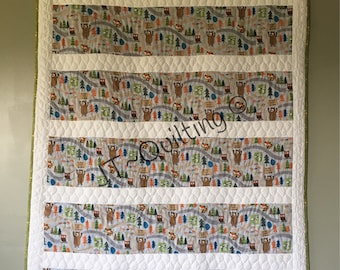 Don't Feed The Bears, Toddler Quilt, Lap Quilt.