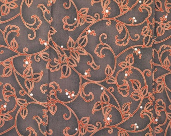 Karakusa Arabesque Flowers with Berries, Vintage Wool Japanese Kimono