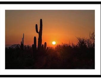 Saguaro Cactus Silhouette In Desert At Sunset framed print